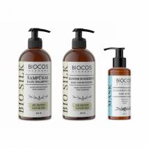 Plaukų priežiūros rinkinys BIO SILK: šampūnas, kondicionierius ir 3in1 maitinamoji kaukė